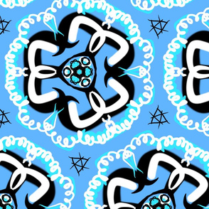 Retro blue floral design