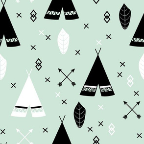 Adventure Teepee Arrow Feather - Mint Black and White