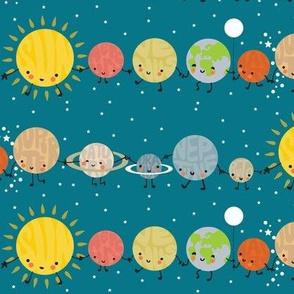 cute solar system blue