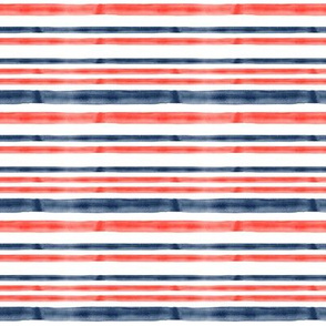 (small scale) red and blue watercolor stripes - LAD19BS