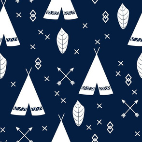 Adventure Teepee Arrow Feather - Navy Blue and White
