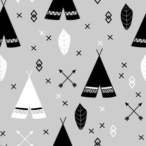 Adventure Teepee Arrow Feather - Gray Black and White