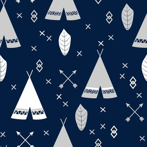 Adventure Teepee Arrow Feather - Navy Gray and White