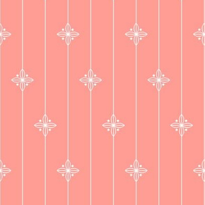 Pastel Coral Geometric Floral Pattern