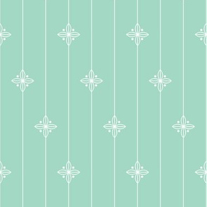 Pastel Green Geometric Floral Pattern