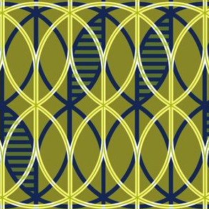 curved abstract navy-mustard