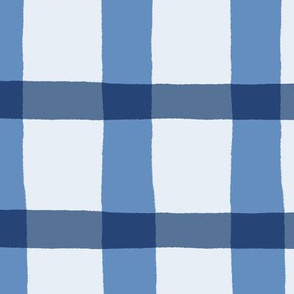 Blueberry Blue Jagged Plaid Pattern