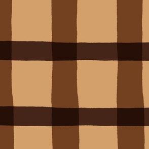 Chocolate Brown Jagged Plaid Pattern