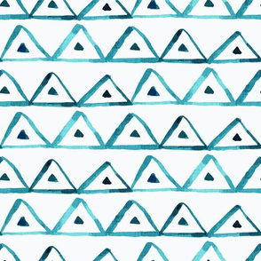 Organic, Loose, Watercolor Triangles - Teal