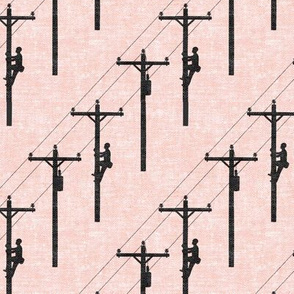 lineman - power lines - pink - LAD19