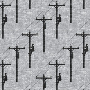 lineman - power lines - black on grey - LAD19