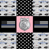 police patchwork fabric - thin blue line - pink chevron - C19BS