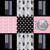 police patchwork fabric - thin blue line - pink  chevron (90) C19BS