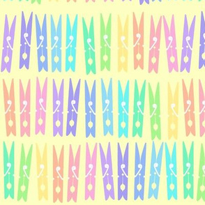 Clothespins - Pastel Rainbow on Yellow