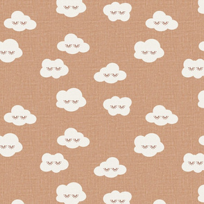 Toffee Sleepy clouds linen