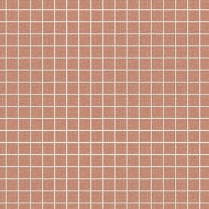 Vintage rosy pink grid linen slubs seamless