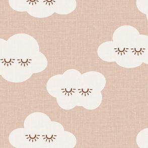 JUMBO Sleepy clouds linen look cloud blanket nursery wallpaper clouds