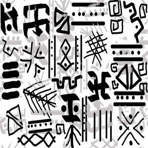 ethnic style sketch black gray white
