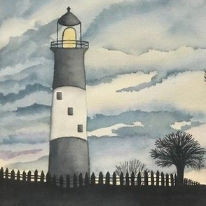 Watercolor Lighthouse Palm