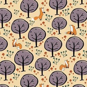 fox forest seamless pattern design.