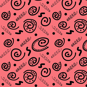 Sea Swirls (Primordial Abstract) - red coral