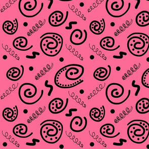 Sea Swirls (Primordial Abstract) - strawberry pink