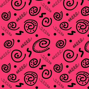 Sea Swirls (Primordial Abstract) - Hot pink