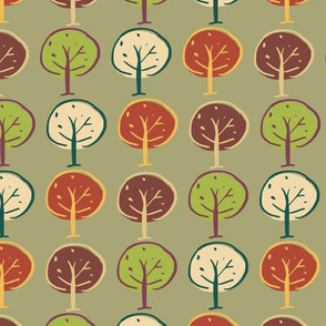 trees woodland seamless repeat pattern design.