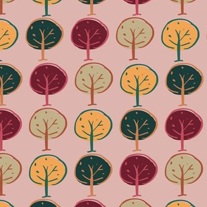 trees woodland seamless repeat pattern design