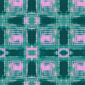 Shibori Plaid Teal and Pink