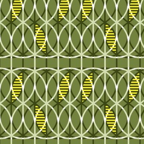 curved abstract yellow-olive