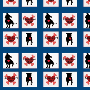 Staffie adoption quilt block - BLUE