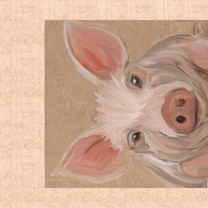 Pig Porktrait for Tea Towel