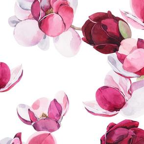 Watercolor Magnolia White 028