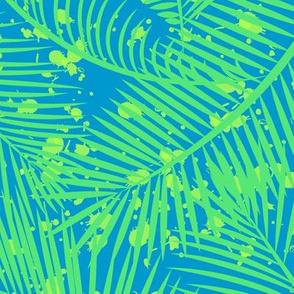 Tropical Palm Leaf Splatter in Green + Blue