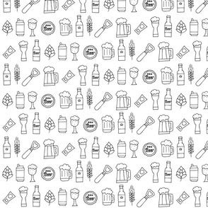 Beer seamless pattern black and white