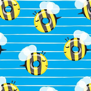 bee donuts - blue with white stripes - doughnuts  - LAD19