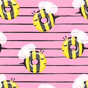 bee donuts - pink  stripes - doughnuts  - LAD19