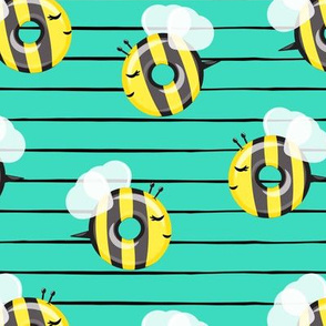bee donuts - teal  stripes - doughnuts  - LAD19