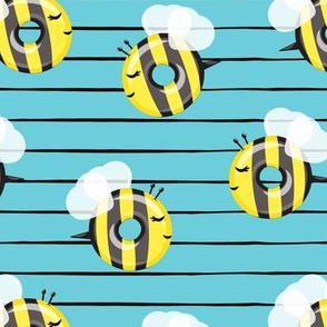bee donuts - blue stripes - doughnuts  - LAD19
