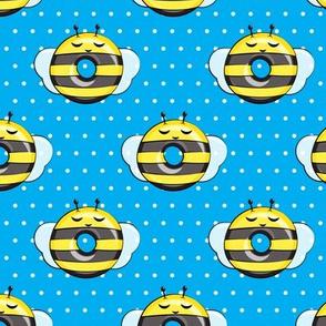 bee donuts - blue polka dots - doughnuts  - LAD19