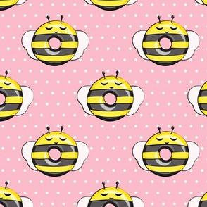 bee donuts - pink polka dots - doughnuts  - LAD19