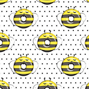 bee donuts - black polka dots - doughnuts  - LAD19