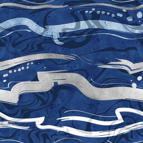Abstract dragon fire water reflexions // blue and silver