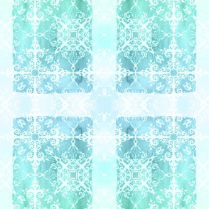 Mermaid Rectangles in Aqua, Blue, Mint Green and White