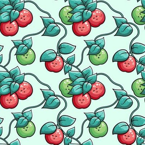 Kawaii Cute Apple Tree And Leaves In Green And Red