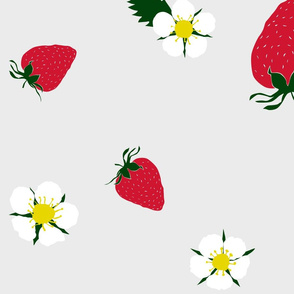 strawberries on beige (large print)