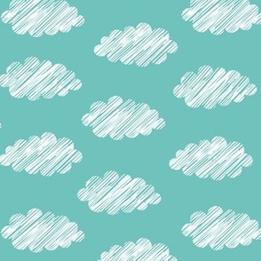 Clouds Teal White