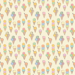 "Ice Creams {Soft Pastel} - mini scale {2.6""x2.6"" repeat}"