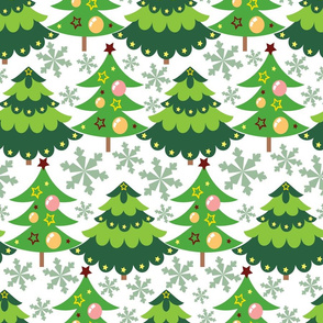 Christmas tree with snowflakes seamless pattern